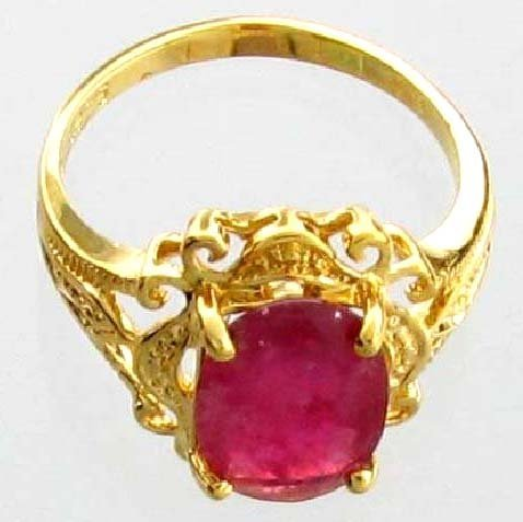 APP: 4k 2CT  Oval Cut Ruby & 14kt. Over Silver Ring