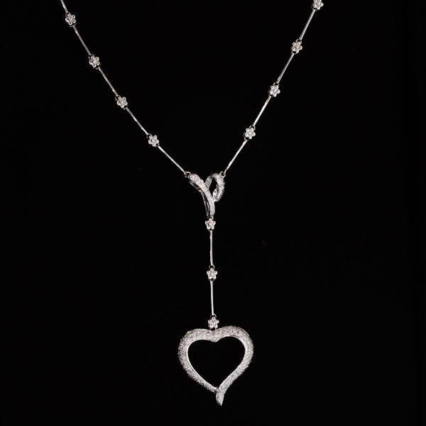 APP: 9k 18kt White Gold, 0 CT Genuine Diamond Necklace