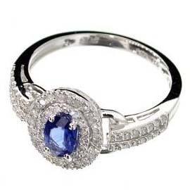 APP: 3k 14kt White Gold, Sapphire & Diamond Ring