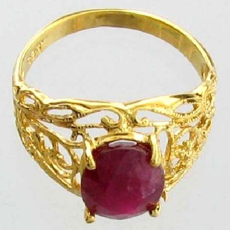 APP: 9k 3CT  Oval Cut Ruby & 14kt. Over Silver Ring