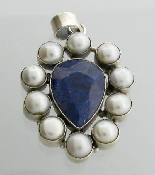APP: 4k 16CT  Sapphire w/Pearls & Sterl Silver Pendant