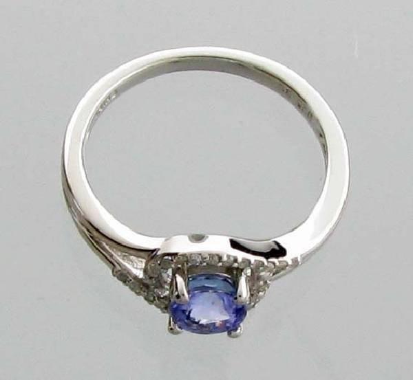 APP: 1k CT  Round Cut Tanzanite & Diamond Silver Ring