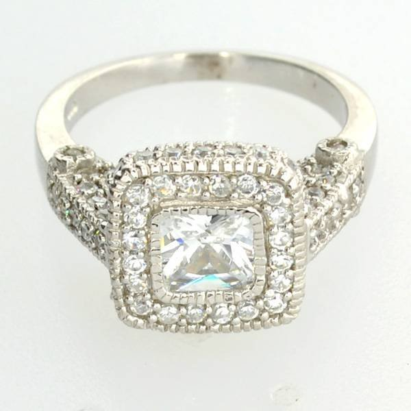 Platinum Sterling Silver French Cubic Zirconium Ring