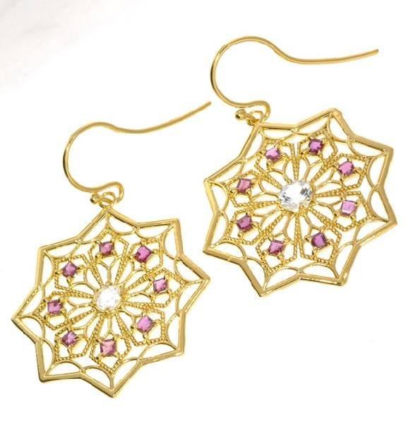 APP: 2k 1CT Ruby Topaz & 18kt Gold over Silver Earrings