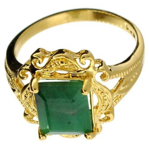 APP: 6k 2CT Rectangle Emerald & 14kt. Over Silver Ring
