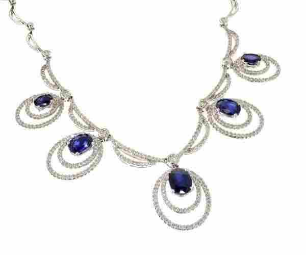 APP 28k 14kt White Gold Sapphire 2CT Diamond Necklace