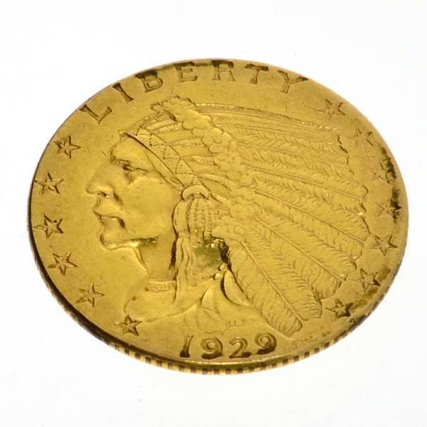 1929 $2.5 US Indian Head Type Gold Coin - Investment