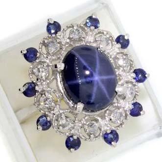 APP: 25k 14kt Gold, Cabochon Sapphire & Diamond Ring