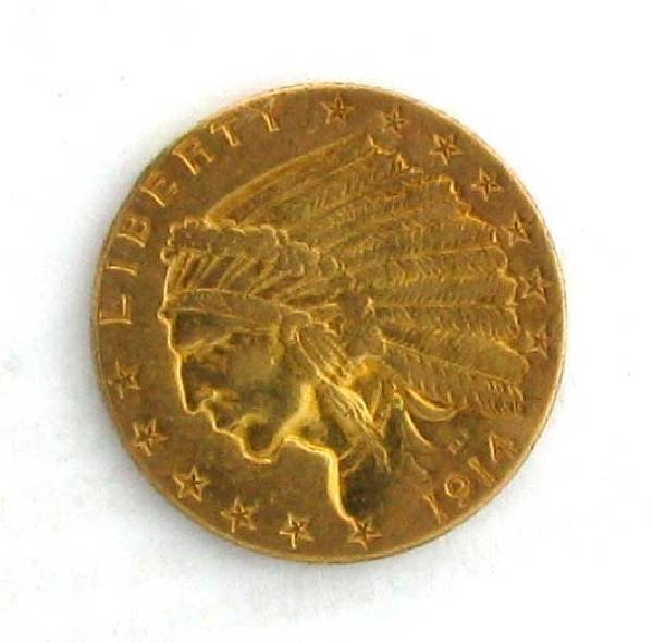 1914 $2.5 US Indian Head Type Gold Coin - Investment