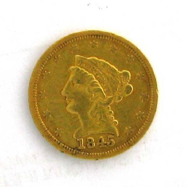 1845 $2.5 US Liberty Head Type Gold Coin - Investment