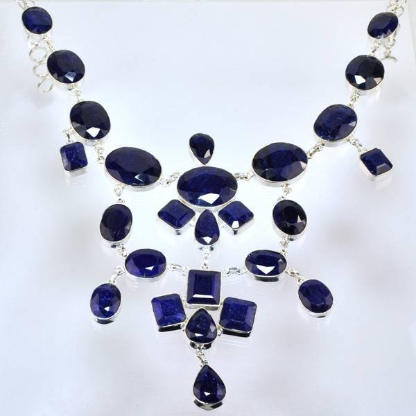 APP: 27k 510CT  Mixed Cut Sapphire & Silver Necklace