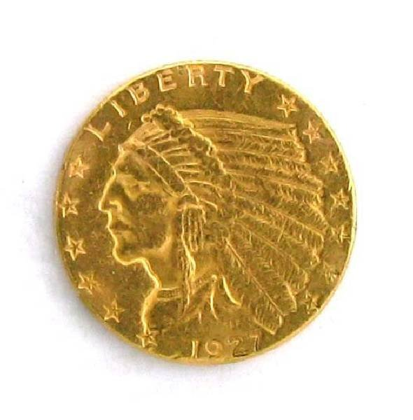 1927 $2.5 US Indian Head Type Gold Coin - Investment