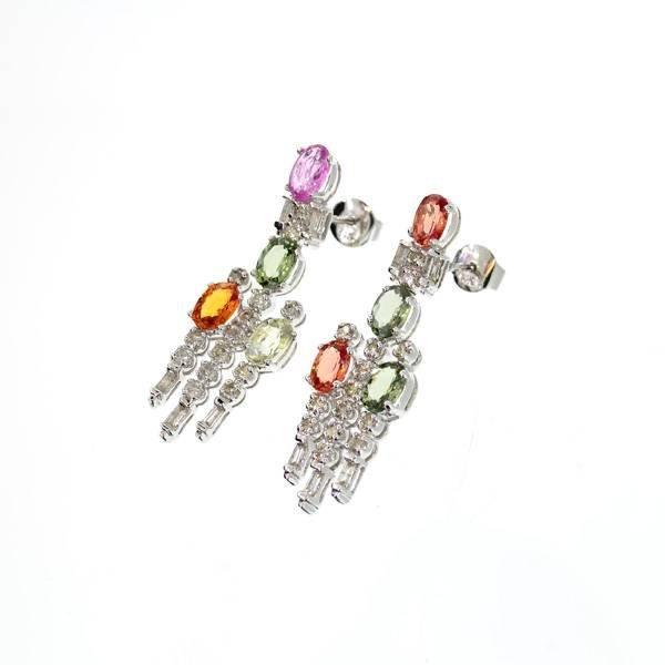 APP: 8k 14kt White Gold, Sapphire & Diamond Earrings