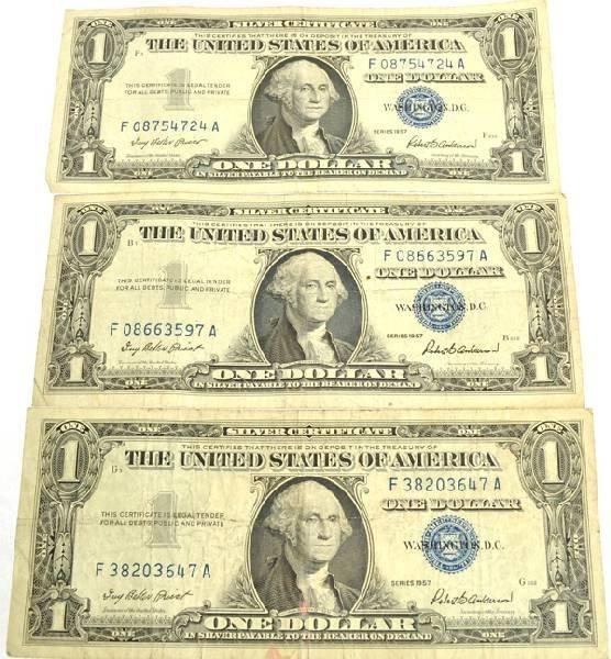 3 1957 $1 Silver Certificates