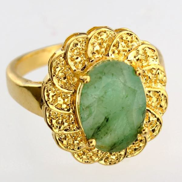 APP: 4k 2CT Emerald & 14kt. Gold Over Silver Ring
