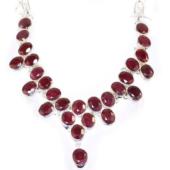 APP: 6k 94 CT Oval Cut Ruby & Sterling Silver Necklace