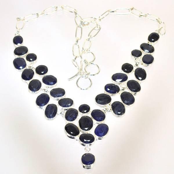 APP: 3k 105CT  Oval Cut Sapphire & Silver Necklace