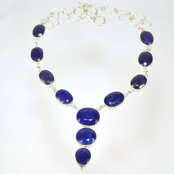 APP: 7k 105CT  Mixed Cut Sapphire & Silver Necklace