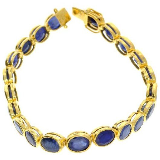 APP: 27k 23CT Sapphire & 18kt Gold Over Silver Bracelet