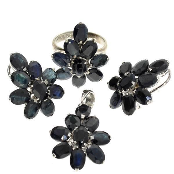 APP: 15k Sapphire Silver Ring, Pendant, & Earrings Set