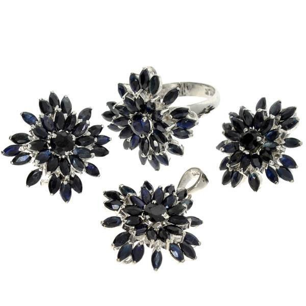 APP: 13k Sapphire Silver Ring, Pendant, & Earrings Set