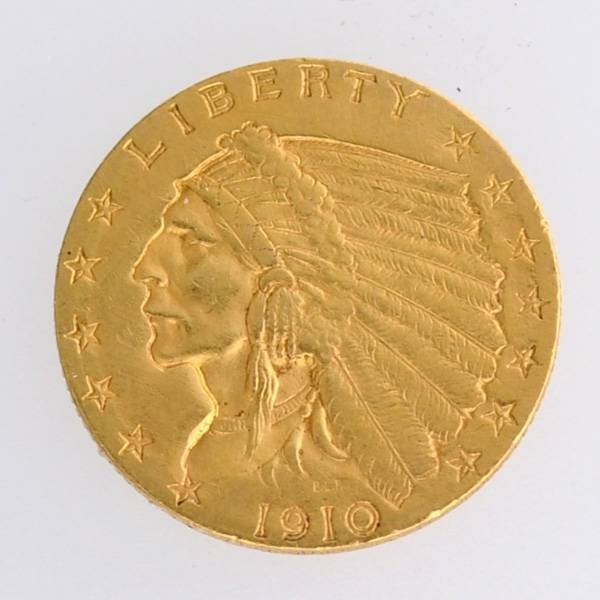 1910 $2.5 U.S Indian Head Type Gold Coin - Investment
