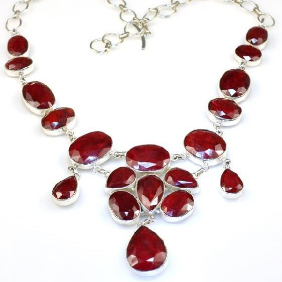 APP: 11k 271CT  Mixed Cut Ruby & Sterl Silver Necklace