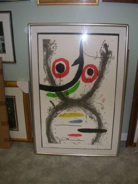 """Joan Miro """"Aquatint, Prise A L'Hamecon"""" - Framed Print"""