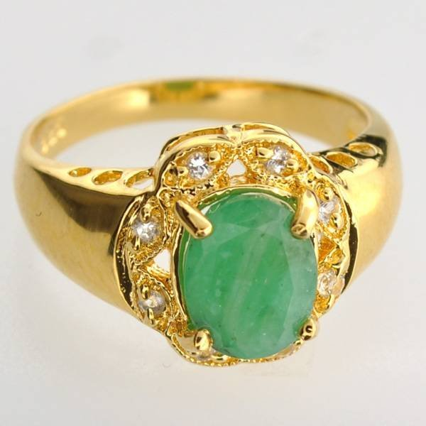 APP: 4k 1CT Emerald Topaz & 14kt Gold Over Silver Ring