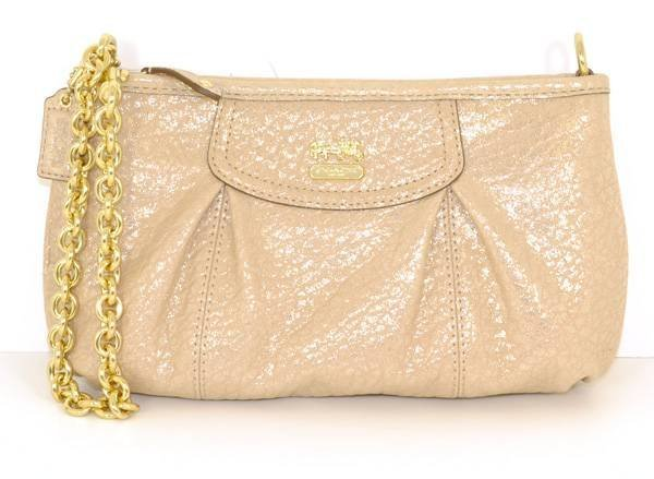 Coach Large Metallic Leather Wristlet w/Gold Chain