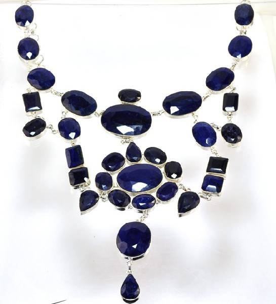 APP: 33k 610CT  Mixed Cut Sapphire & Silver Necklace