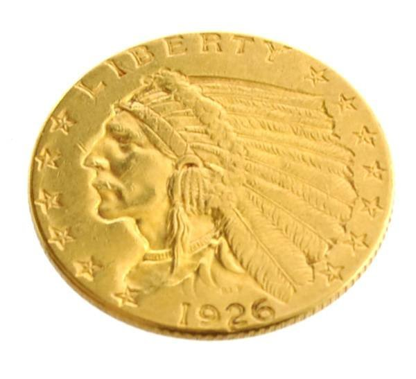 1926 $2.5 U.S. Indian Head Gold Coin - Investment