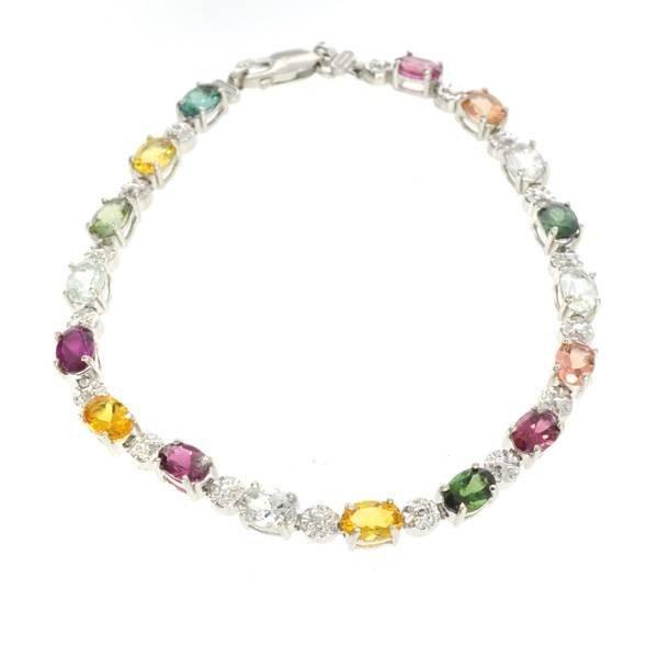 APP: 3k 14 kt White Gold 5CT Semi-Precious Bracelet
