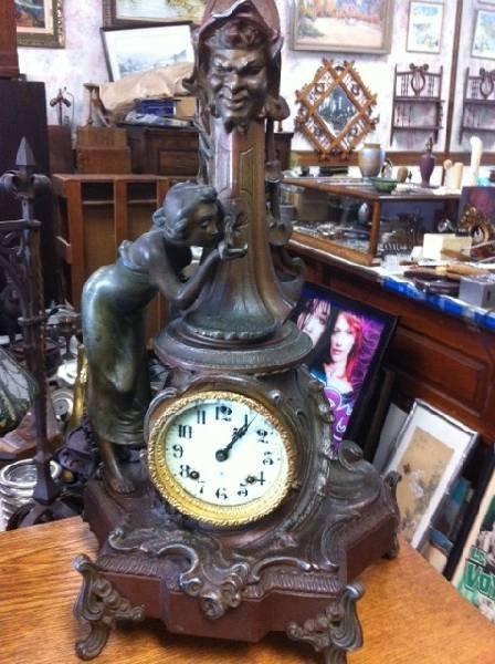 "Ansonia Clock ""Art Novoeu Lady"" Clock - Runs Well"