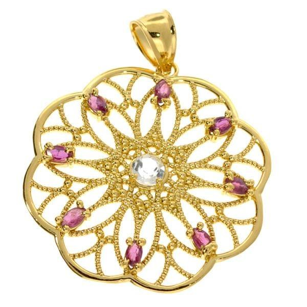 APP: 1k 0CT Ruby & Topaz 18kt Gold over Silver Pendant