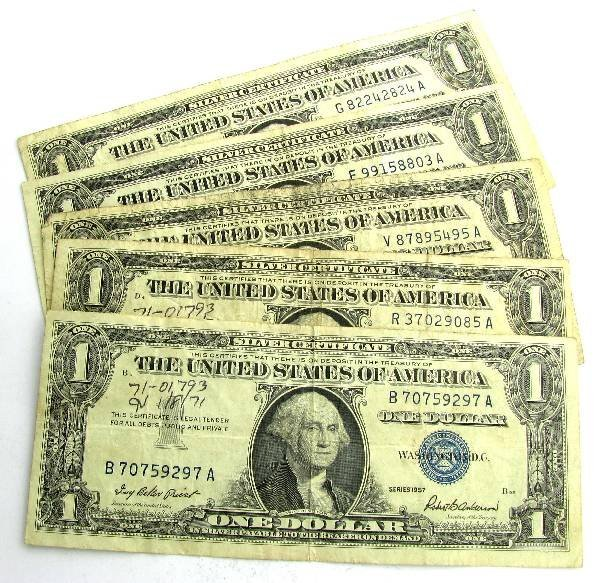 (5) 1957 $1 Silver Certificates