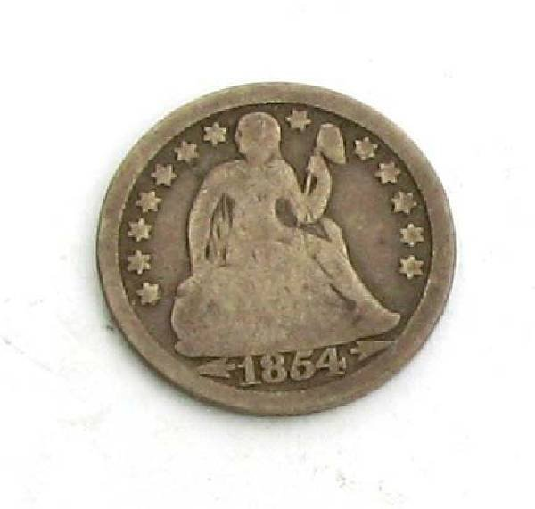 1854 Arr. U.S One Dime Liberty Seated Type Coin