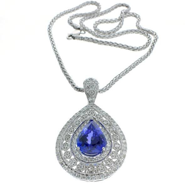 APP: 42k 14kt Gold, Tanzanite & Diamond w/Chain Pendant