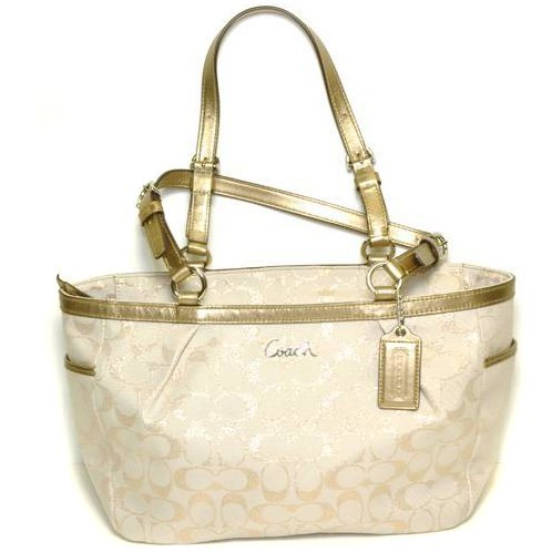 Coach Handcrafted Khaki w/Golden Straps Purses