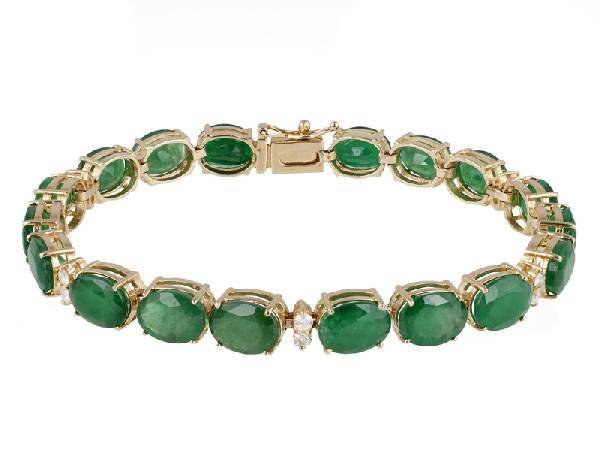 APP: 23k 14 kt Gold, 29CT Emerald & Diamond Bracelet