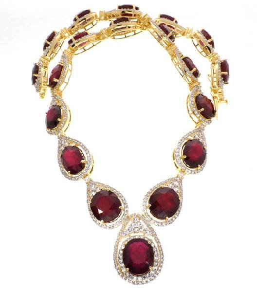 APP: 34k *Ruby & Sapphire Gold Over Silver Necklace