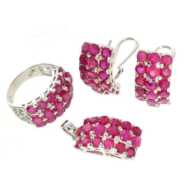 APP: 27k 23CT Ruby & Ring, Pendant, & Earrings Set