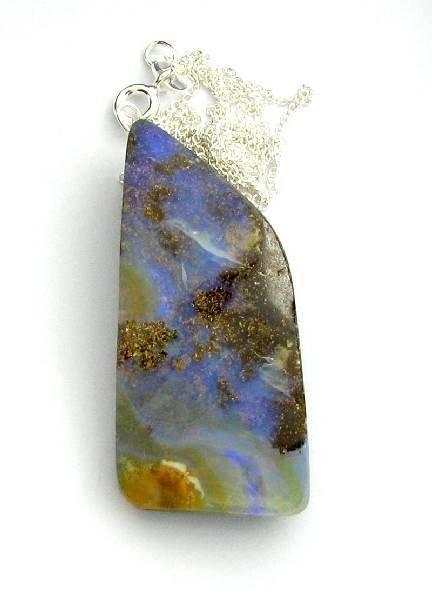APP: 1k 42.00CT Boulder Opal & Sterling Silver Necklace
