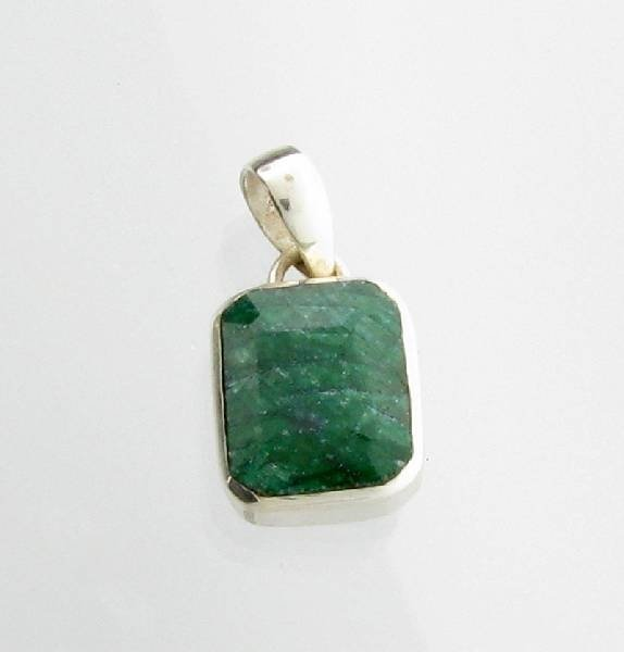 APP: 1k 12 CT Green Sapphire & Sterling Silver Pendant