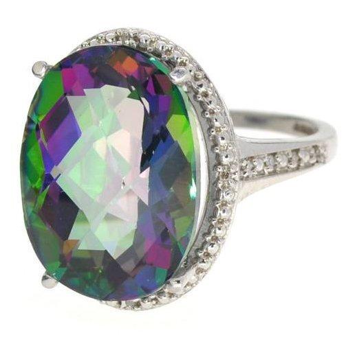 APP: 1k 17CT  Mystic Topaz & Diamond Over Silver Ring