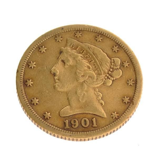 1901-S $5.0 US Liberty Head Type Gold Coin - Investment