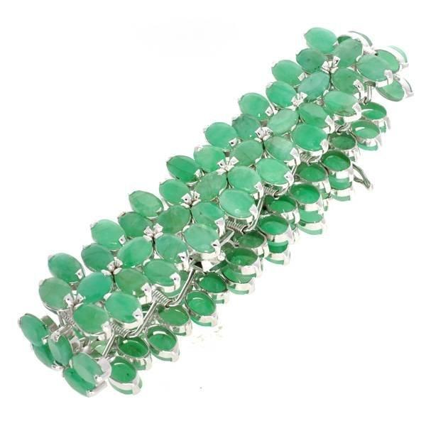 APP: 20k 36CT  Oval Cut Emerald & Sterl Silver Bracelet