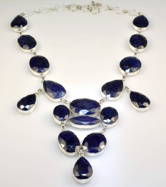 APP: 14k 315CT  Mixed Cut Sapphire & Silver Necklace