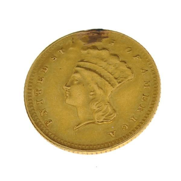 1861 $1 US Indian Head Type Gold Coin - Investment