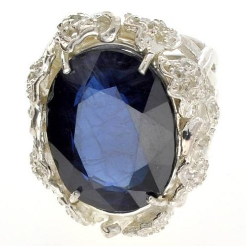 APP: 20.2k 31.73CT Blue Sapphire & Sterling Silver Ring